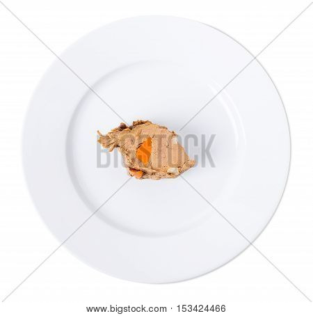 Braised beef stuffed with carrots and garlic cloves. Isolated on a white background.