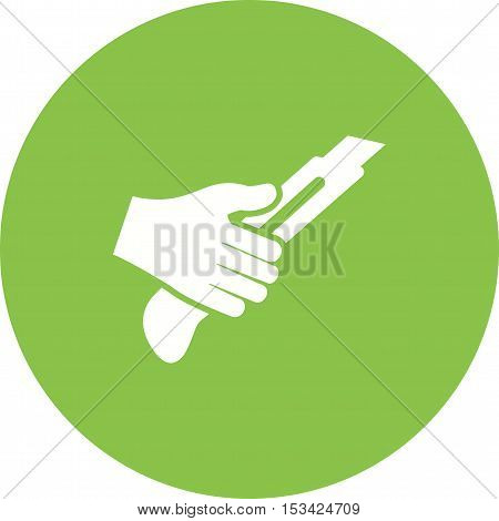 Cutter, knife, paper icon vector image. Can also be used for hand actions. Suitable for use on web apps, mobile apps and print media.