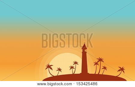 Silhouette of lighthouse and palm at sunset vector illustration