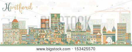 Abstract Hartford Skyline with Color Buildings. Business Travel and Tourism Concept with Historic Architecture. Image for Presentation Banner Placard and Web Site.