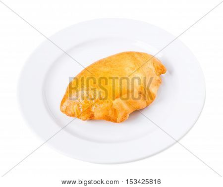 Delicious pie with chicken fillet. Isolated on a white background.
