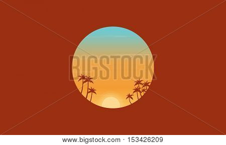 At sunset palm trees silhouettes scenery vector flat