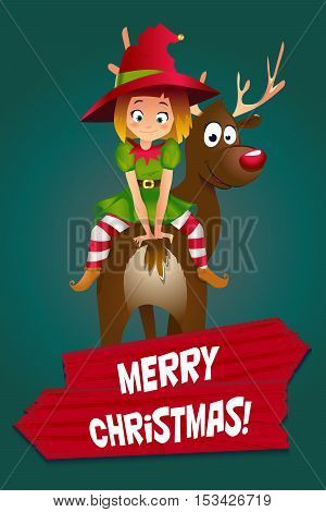 Elf CardMerry Christmas. Santas elf helper riding a Reindeer. dark green background