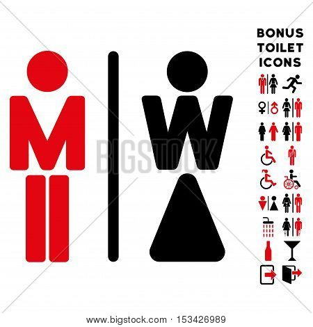 WC Persons icon and bonus man and lady WC symbols. Vector illustration style is flat iconic bicolor symbols, intensive red and black colors, white background.