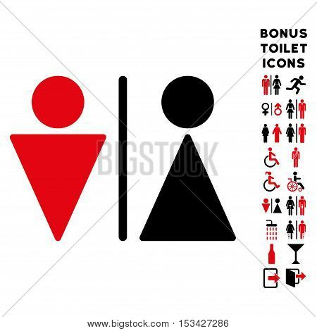 WC Persons icon and bonus male and woman WC symbols. Vector illustration style is flat iconic bicolor symbols, intensive red and black colors, white background.