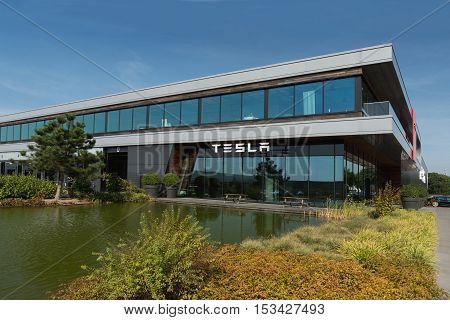 TILBURG NETHERLANDS - SEPTEMBER 25 2016: Tesla Motors Assembly Plant in Tilburg Netherland. Tesla car.