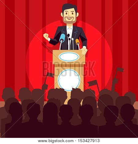 Business leadership vector concept with speaker businessman, politician on the podium. Person speech on conference illustration
