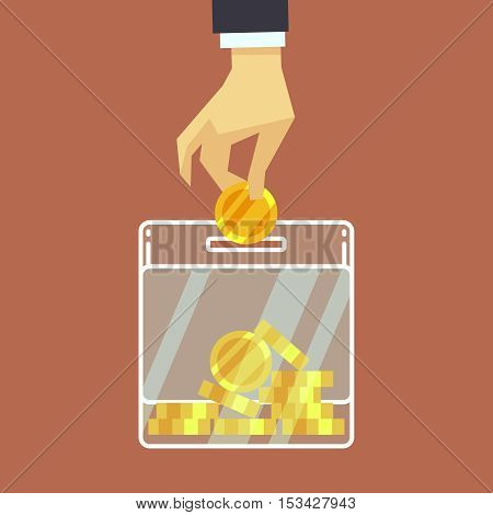 Businessman insert coin into donate box. vector donation concept. Finance business investment illustration