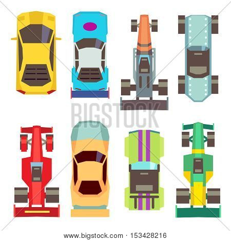 Sport race cars top view flat vector icons. Speed transport for competition illustration