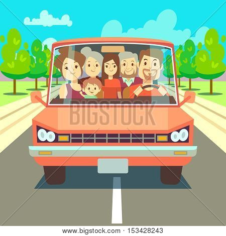 Happy family traveling by car driving on road. Big family going to summer vacations vector illustration. Transportation to holiday, father mother and children
