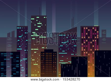 Night city, buildings with glowing windows at dusk vector urban background. Building skyscraper architecture evening illustration