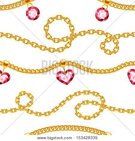 Golden chains with gemstones jewels vector seamless pattern. Luxury precious necklace with gemstone illustration