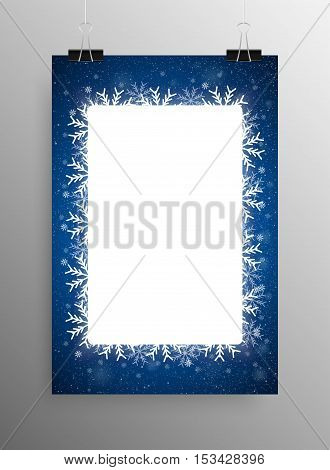 Vertical Poster Banner A4 Vector Paper Clips. Vector Rectangle Frame Snowflake. Falling Snow. White Winter Frame Blue Background. Winter Snowfall. Winter Holidays New Year and Merry Christmas.