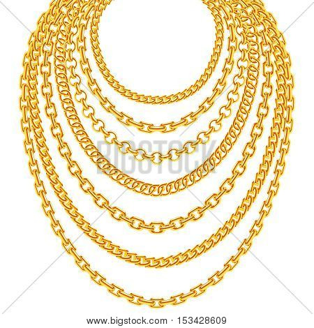 Golden metallic chain necklaces vector set. Gold fashion luxury decoration illustration
