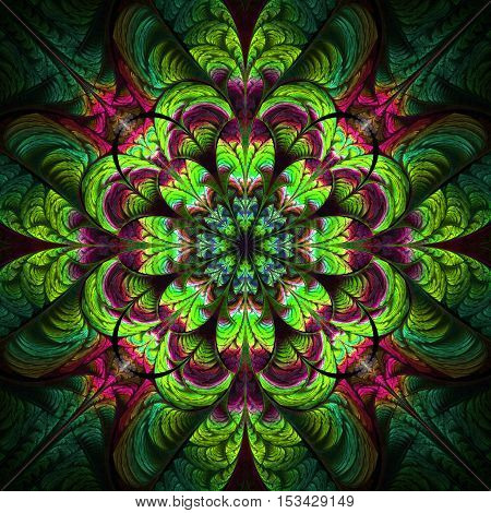 Abstract flower ornament on black background. Symmetric fractal pattern in red pink and green colors. Stylish vintage design for wallpapers or textile. Digital art. 3D rendering.
