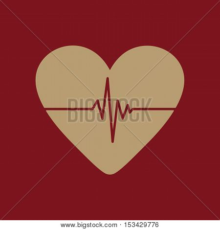 The heart and cardiogram icon. Heart and cardiogram symbol. Flat Vector illustration