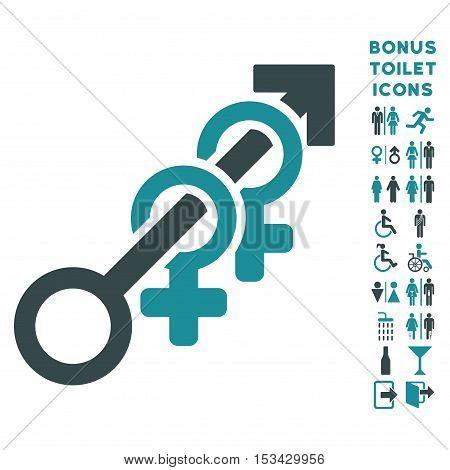 Harem icon and bonus gentleman and woman WC symbols. Vector illustration style is flat iconic bicolor symbols, soft blue colors, white background.