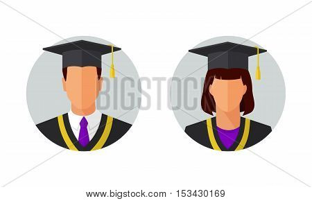Man and woman education student icons. College or university graduation students. Flat style design vector illustration.