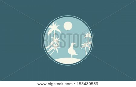 Bird and moon landscape of silhouettes vector illustration