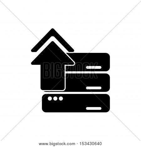 Upload arrow and data base icon. Digital web application and technology theme. Isolated design. Vector illustration