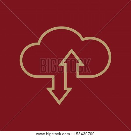 The download and upload to cloud icon. Download And Upload symbol. Flat Vector illustration