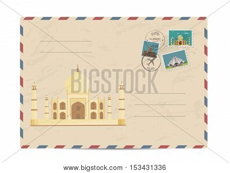 Ancient palace Taj Mahal. Postal envelope with famous architectural composition, postage stamps and postmarks on white background vector illustration. Postal services. Envelope delivery. Gift envelope. Souvenir of trip. Travel souvenir.