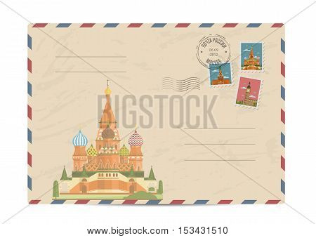 Saint Basil Cathedral at Red Square in center of Moscow. Postal envelope with famous architectural composition, postage stamps and postmarks vector illustration. Postal services. Envelope delivery. Gift envelope. Souvenir of trip. Travel souvenir.