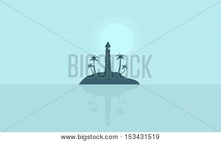 Silhouette of islands with lighthouse scenery vector