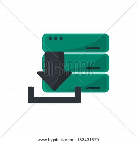 Download arrow and data base icon. Digital web application and technology theme. Isolated design. Vector illustration