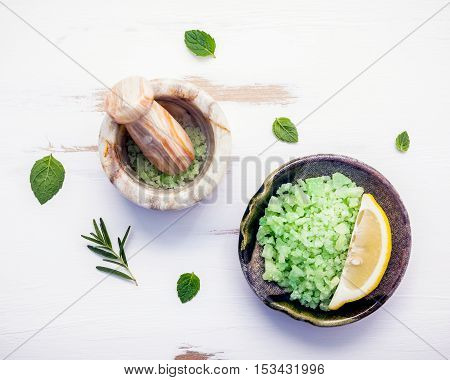 Aromatic Sea Salt With Aromatic Herbs . Fresh Peppermint ,sage And Rosemary. Nature Spa Ingredients