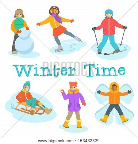 Kids winter activities. Children in warm clothes play outdoor games on Christmas holidays. Boy makes snowman, snow angel, skiing, girl skating on ice, playing snowballs, slides on sled. Vector cartoon