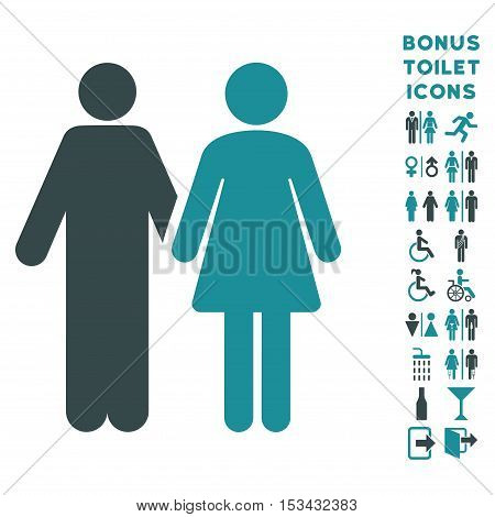 Married Couple icon and bonus male and lady WC symbols. Vector illustration style is flat iconic bicolor symbols, soft blue colors, white background.