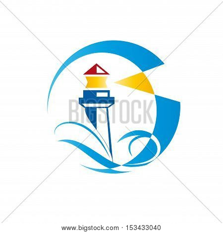 Vector sign lighthouse on white background, abstract shape, isolated illustration