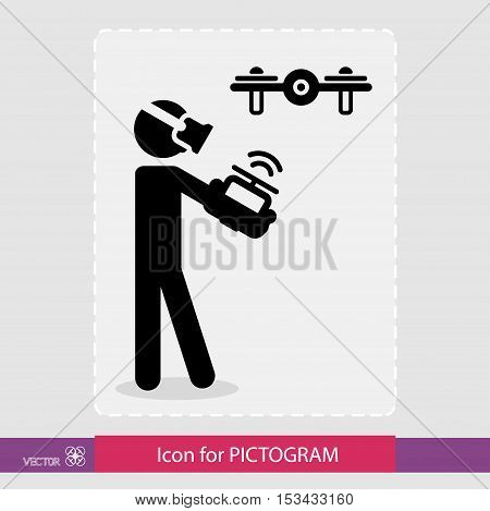 Sticker human figure, the control drone. In man wearing virtual glasses in the hands of the remote control. For pictograms. eps8