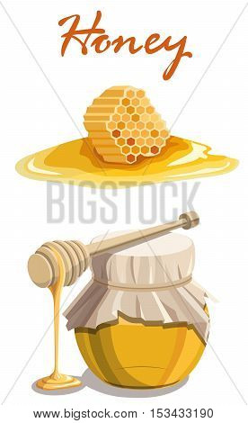Honey jar, wooden dipper stick and honeycomb . Vector colored illustration on a white background