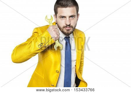 Portrait Of A Businessman With Yellow Key