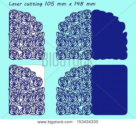 2 variants laser cutting template with pattern of roses. For greeting cards, valentines, wedding invitations. Size 105 mm x 148 mm.