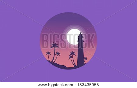 Scenery palm and lighthouse of silhouettes vector illustration