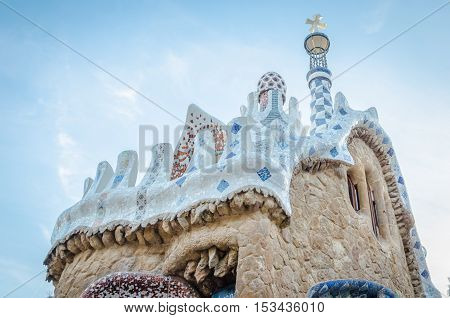 Building In Park Guell In Barcelona, Spain One Of The Major Examples Of The Work Antonio Gaudi