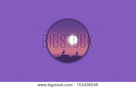 Seabird and moon scenery of silhouettes vector flat