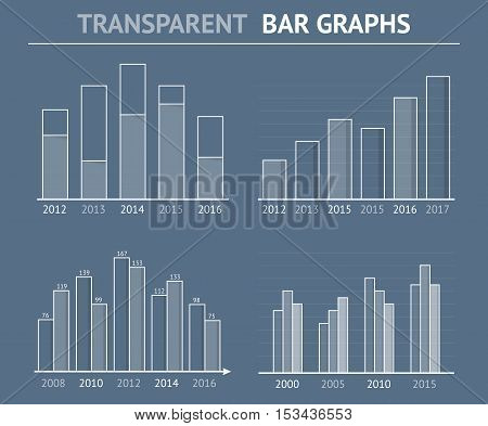 Transparent bar graphs for statistics or data visualization, can be used in reports or presentations, vector eps10 illustration