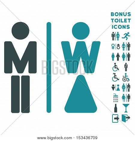 WC Persons icon and bonus gentleman and female WC symbols. Vector illustration style is flat iconic bicolor symbols, soft blue colors, white background.