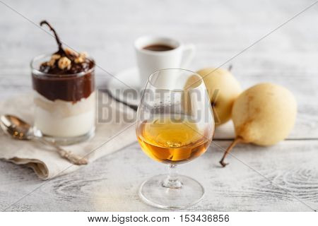 Coffee And Drink. Cup Of Coffee And Cognac Brandy Whiskey Aperitif