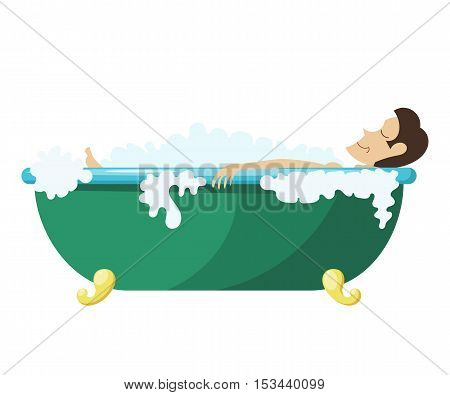 Vector Cartoon illustration of a man lying in the bath. Young man relaxes in the bath. Man foam bath