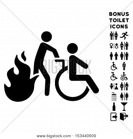 Fire Patient Evacuation icon and bonus man and lady toilet symbols. Vector illustration style is flat iconic symbols, black color, white background.