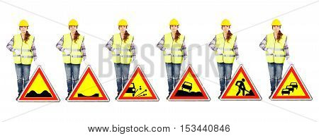 Girl worker in a construction helmet and yellow vest stands near different road signs of temporary dangers or roadworks conditions isolated