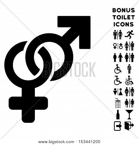 Heterosexual Symbol icon and bonus gentleman and female toilet symbols. Vector illustration style is flat iconic symbols, black color, white background.