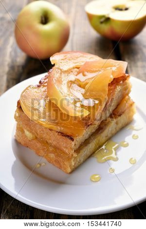 French toast stuffed with caramelized apples for breakfast