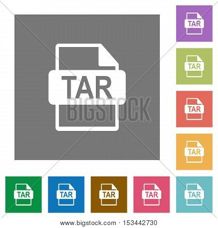 TAR file format flat icons on simple color square background.