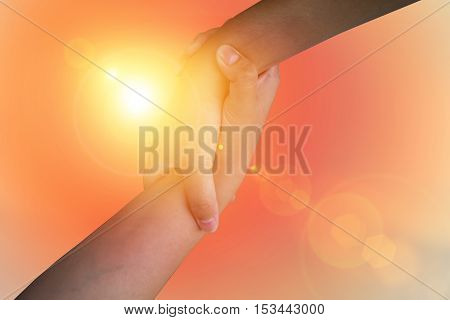 Closeup hands Used to help each other on background. The concept of Business. hands strong who have experience to help the people who are able to move on to greatness.two hold love team work office.